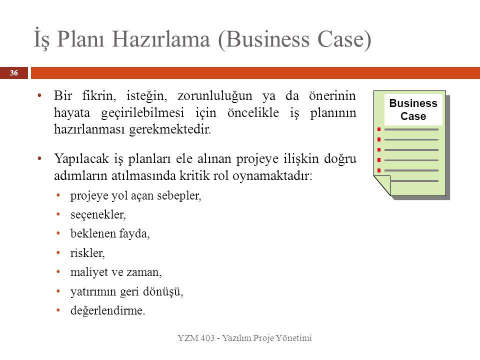 İş Planı Hazırlama (Business Case) YZM 403 - Yazılım Proje Yönetimi Bir fikrin, isteğin, zorunluluğun ya da önerinin hayata geçirilebilmesi için öncel