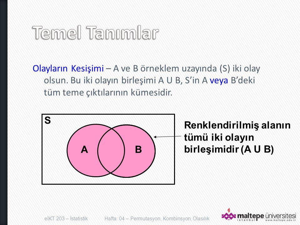 Olayların Kesişimi – A ve B örneklem uzayında (S) iki olay olsun. Bu iki olayın birleşimi A U B, S'in A veya B'deki tüm teme çıktılarının kümesidir. e