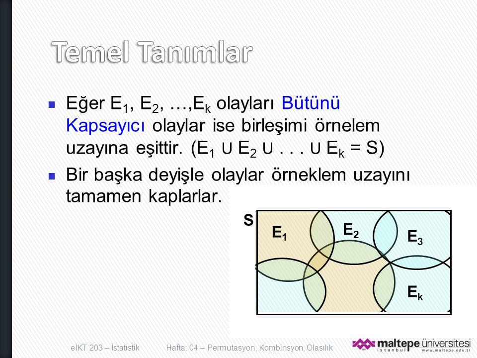 Eğer E 1, E 2, …,E k olayları Bütünü Kapsayıcı olaylar ise birleşimi örnelem uzayına eşittir. (E 1 U E 2 U... U E k = S) Bir başka deyişle olaylar örn