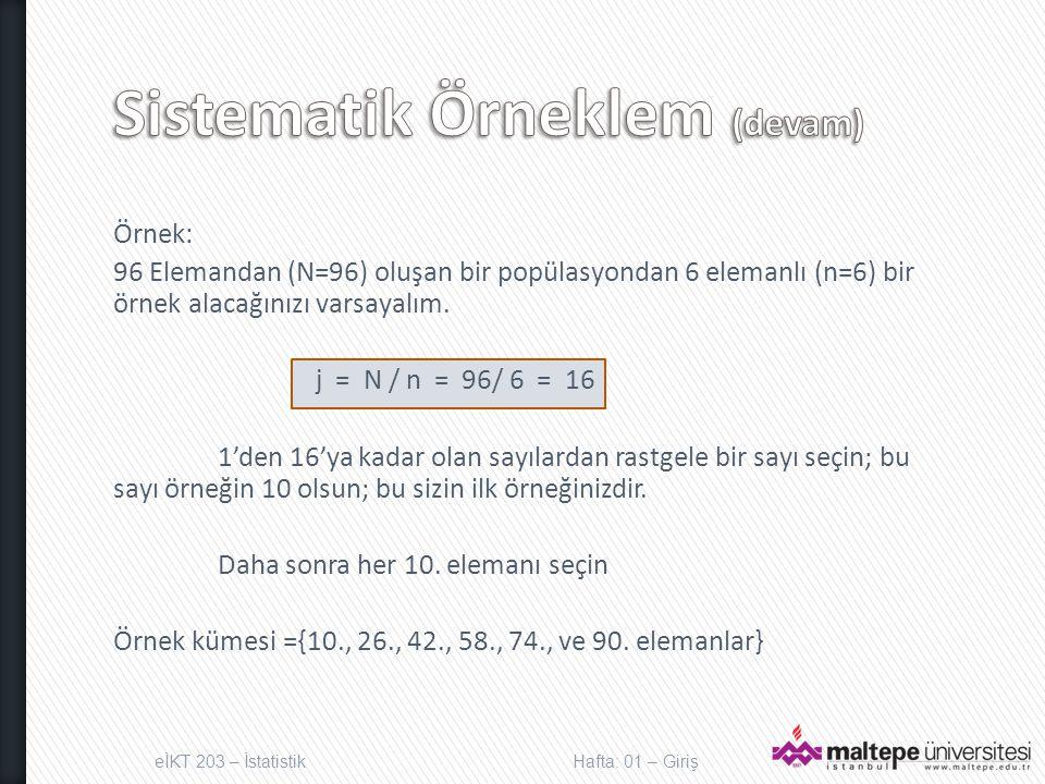 Örnek: 96 Elemandan (N=96) oluşan bir popülasyondan 6 elemanlı (n=6) bir örnek alacağınızı varsayalım.