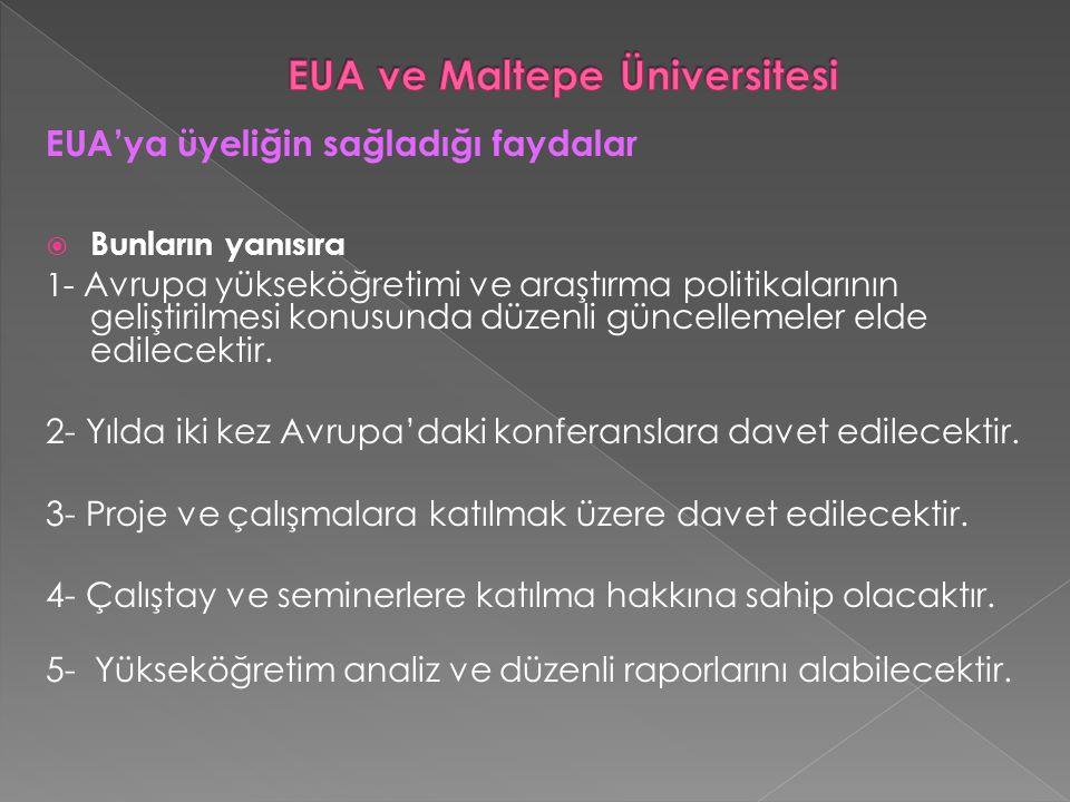 EUA'ya üyeliğin sağladığı faydalar  Bunların yanısıra 1- Avrupa yükseköğretimi ve araştırma politikalarının geliştirilmesi konusunda düzenli güncellemeler elde edilecektir.