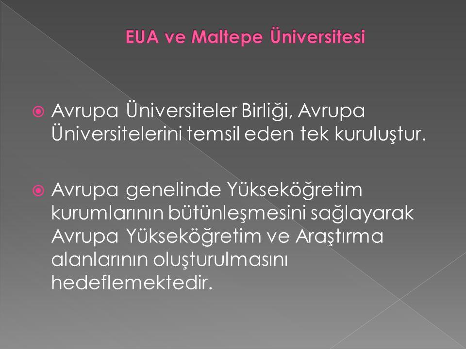  Avrupa Üniversiteler Birliği, Avrupa Üniversitelerini temsil eden tek kuruluştur.