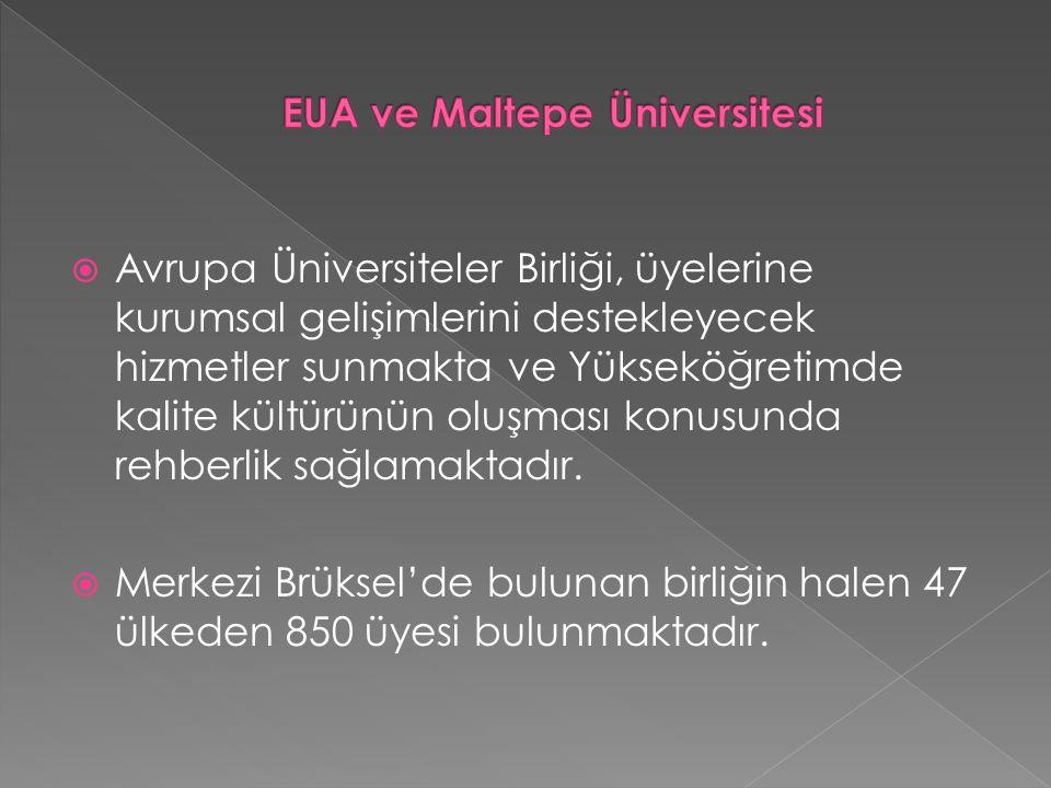  Avrupa Üniversiteler Birliği, üyelerine kurumsal gelişimlerini destekleyecek hizmetler sunmakta ve Yükseköğretimde kalite kültürünün oluşması konusunda rehberlik sağlamaktadır.