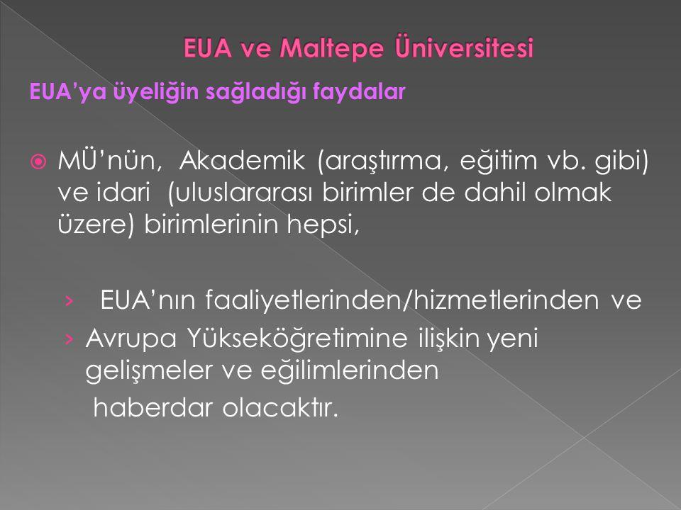 EUA'ya üyeliğin sağladığı faydalar  MÜ'nün, Akademik (araştırma, eğitim vb.