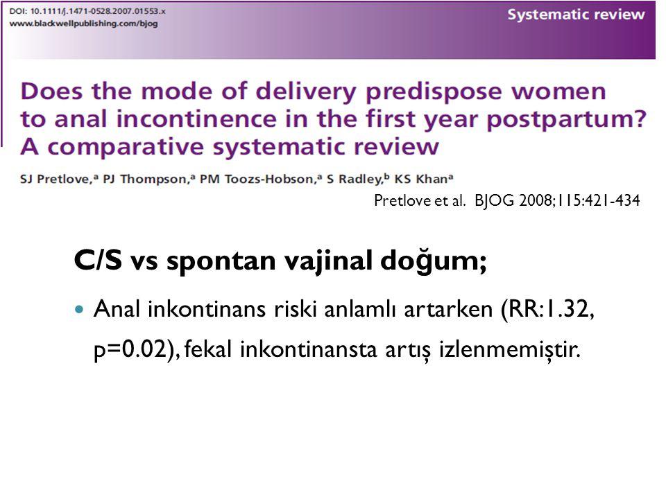 C/S vs spontan vajinal do ğ um; Anal inkontinans riski anlamlı artarken (RR:1.32, p=0.02), fekal inkontinansta artış izlenmemiştir. Pretlove et al. BJ