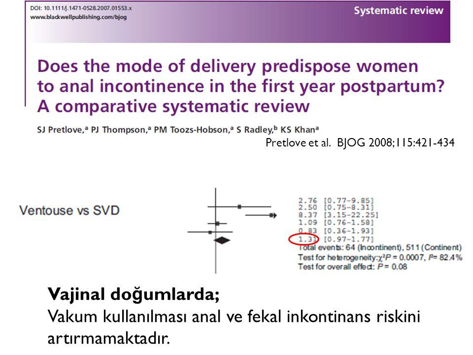 Pretlove et al. BJOG 2008;115:421-434 Vajinal do ğ umlarda; Vakum kullanılması anal ve fekal inkontinans riskini artırmamaktadır.