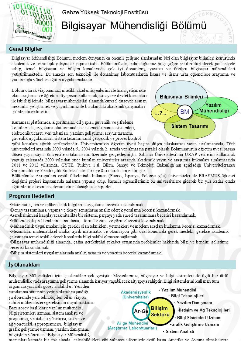 Gebze Yüksek Teknoloji Enstitüsü Bilgisayar Mühendisliği Bölümü Genel Bilgiler Bilgisayar Mühendisliği Bölümü, modern dünyanın en önemli gelişme alanl
