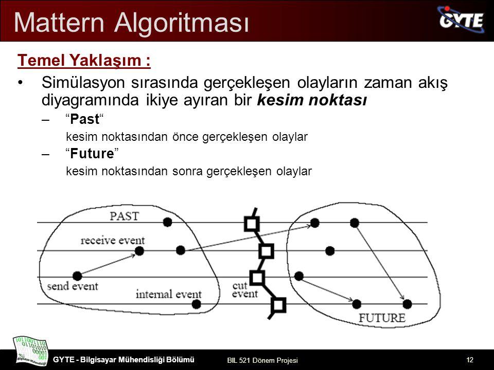 GYTE - Bilgisayar Mühendisliği Bölümü BIL 521 Dönem Projesi 12 Mattern Algoritması Temel Yaklaşım : Simülasyon sırasında gerçekleşen olayların zaman a