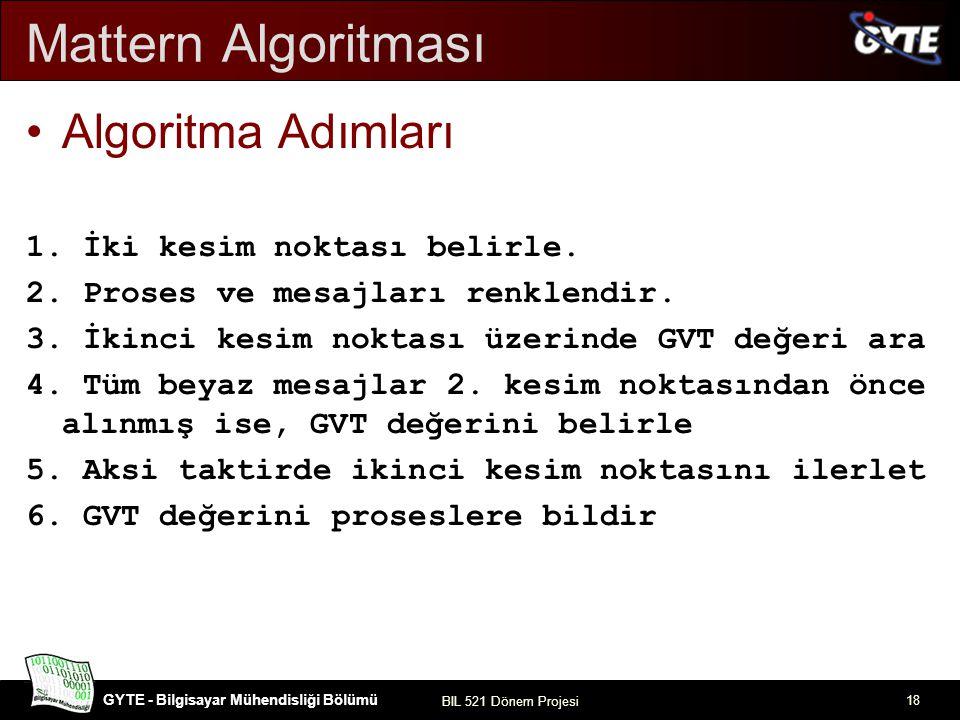 GYTE - Bilgisayar Mühendisliği Bölümü BIL 521 Dönem Projesi 18 Mattern Algoritması Algoritma Adımları 1. İki kesim noktası belirle. 2. Proses ve mesaj