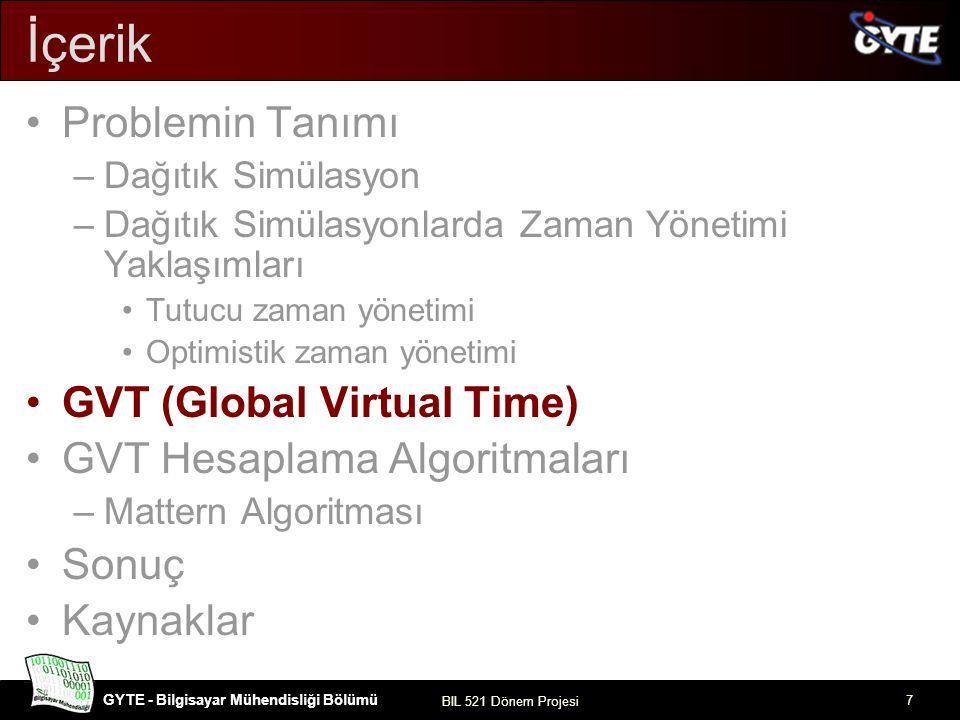 GYTE - Bilgisayar Mühendisliği Bölümü BIL 521 Dönem Projesi 8 GVT (Global Virtual Time) Belirli aralıklarla, sistemin tutarlı olduğu bir an belirlenir –Global Virtual Time Geri alma işleminde simülasyon GVT noktasına kadar geriletilir.
