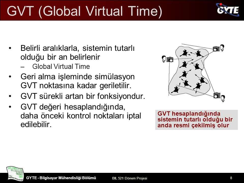 GYTE - Bilgisayar Mühendisliği Bölümü BIL 521 Dönem Projesi 8 GVT (Global Virtual Time) Belirli aralıklarla, sistemin tutarlı olduğu bir an belirlenir