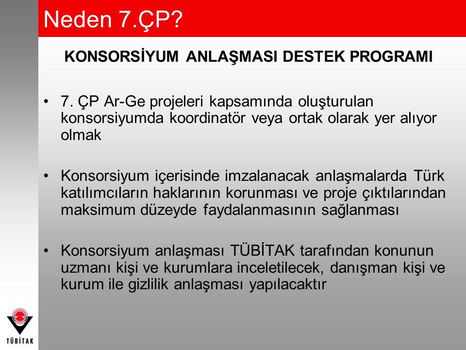 KONSORSİYUM ANLAŞMASI DESTEK PROGRAMI 7. ÇP Ar-Ge projeleri kapsamında oluşturulan konsorsiyumda koordinatör veya ortak olarak yer alıyor olmak Konsor