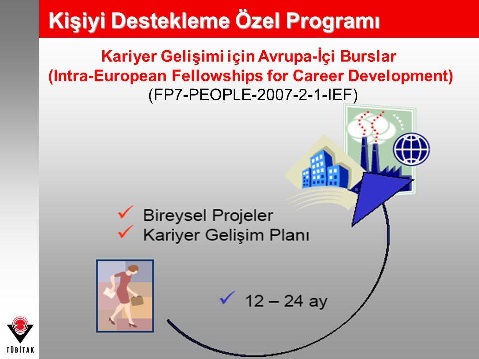 Kariyer Gelişimi için Avrupa-İçi Burslar (Intra-European Fellowships for Career Development) (FP7-PEOPLE-2007-2-1-IEF) Kişiyi Destekleme Özel Programı