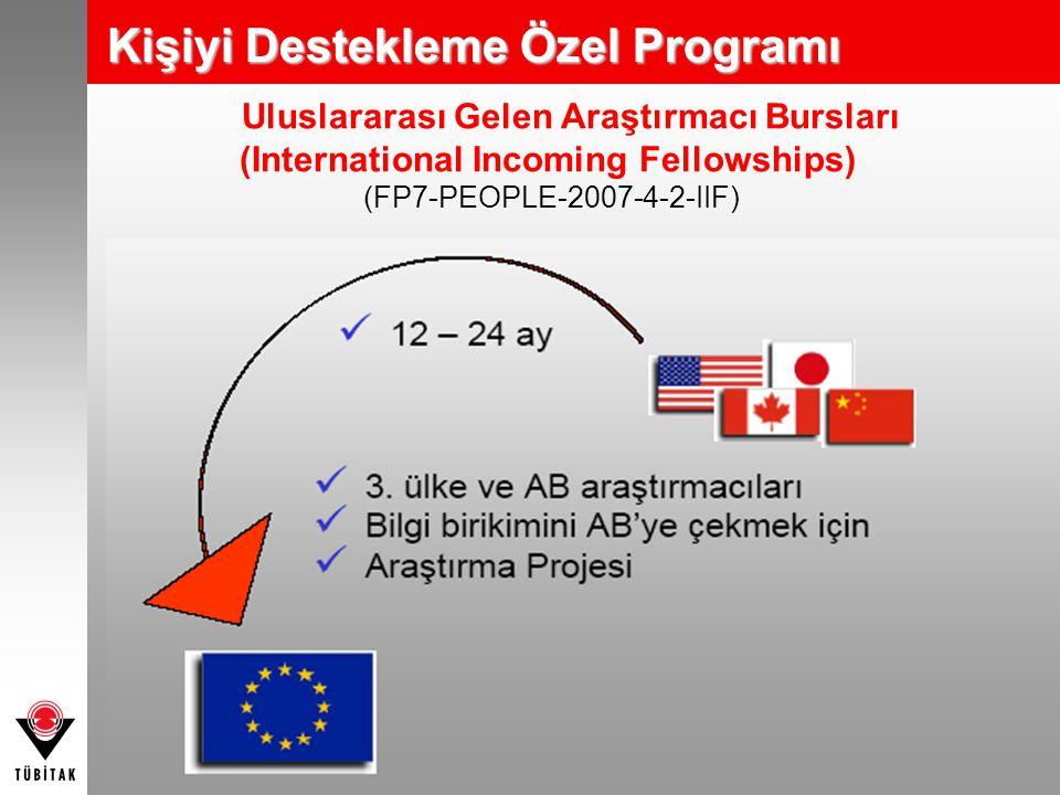Uluslararası Gelen Araştırmacı Bursları (International Incoming Fellowships) (FP7-PEOPLE-2007-4-2-IIF) Kişiyi Destekleme Özel Programı