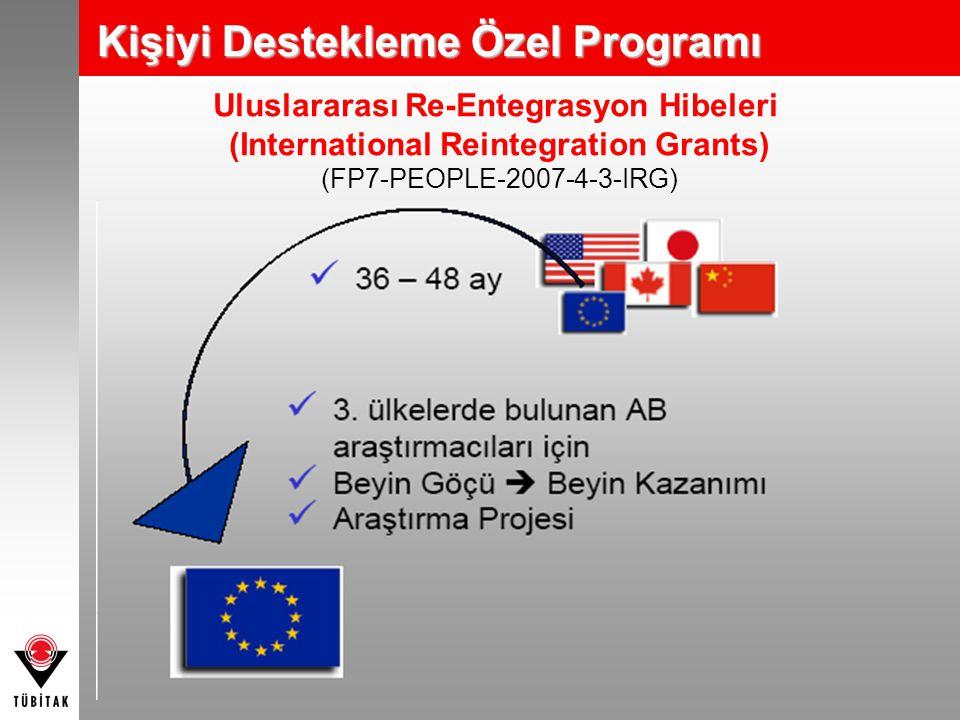 Uluslararası Re-Entegrasyon Hibeleri (International Reintegration Grants) (FP7-PEOPLE-2007-4-3-IRG) Kişiyi Destekleme Özel Programı