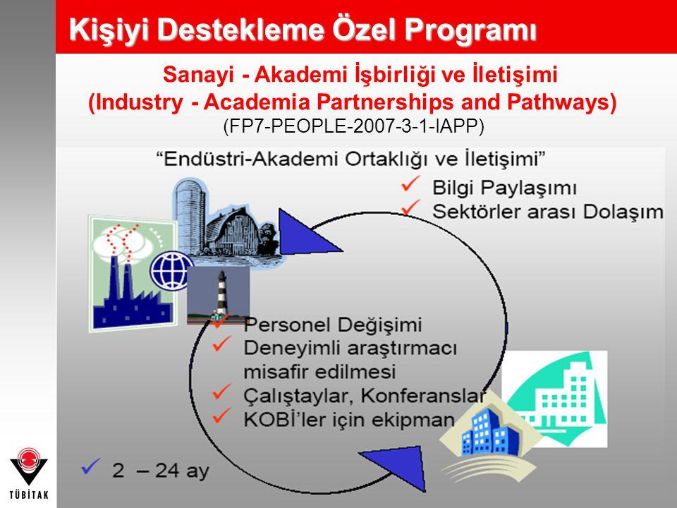 Sanayi - Akademi İşbirliği ve İletişimi (Industry - Academia Partnerships and Pathways) (FP7-PEOPLE-2007-3-1-IAPP) Kişiyi Destekleme Özel Programı