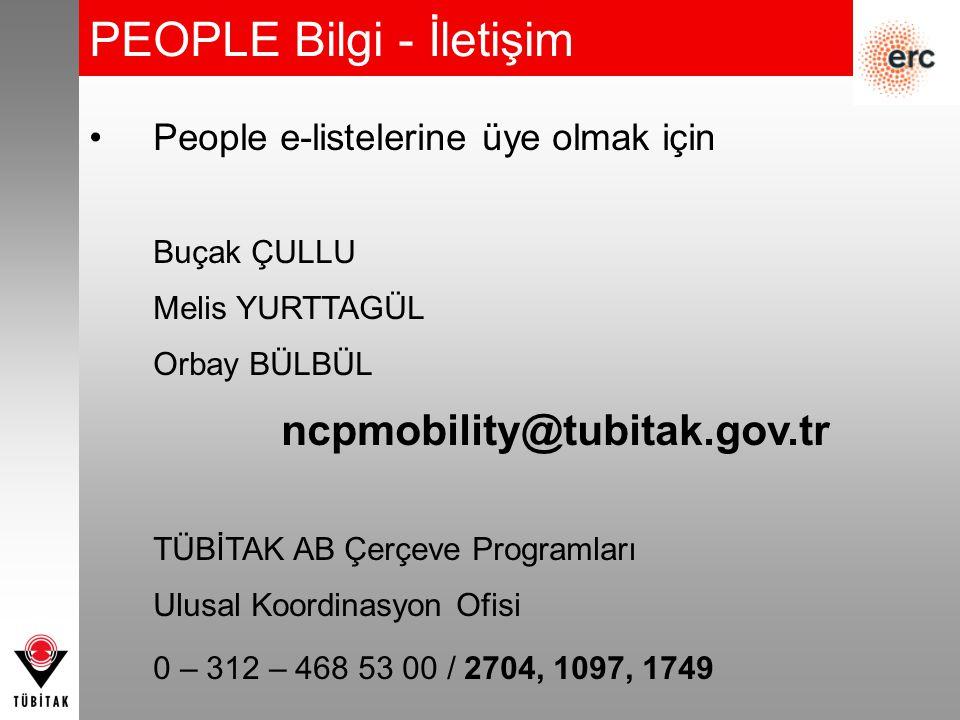 PEOPLE Bilgi - İletişim People e-listelerine üye olmak için Buçak ÇULLU Melis YURTTAGÜL Orbay BÜLBÜL ncpmobility@tubitak.gov.tr TÜBİTAK AB Çerçeve Pro