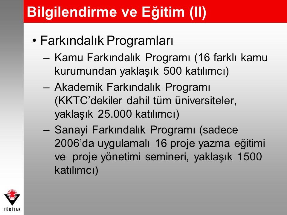 Bilgilendirme ve Eğitim (II) Farkındalık Programları –Kamu Farkındalık Programı (16 farklı kamu kurumundan yaklaşık 500 katılımcı) –Akademik Farkındal
