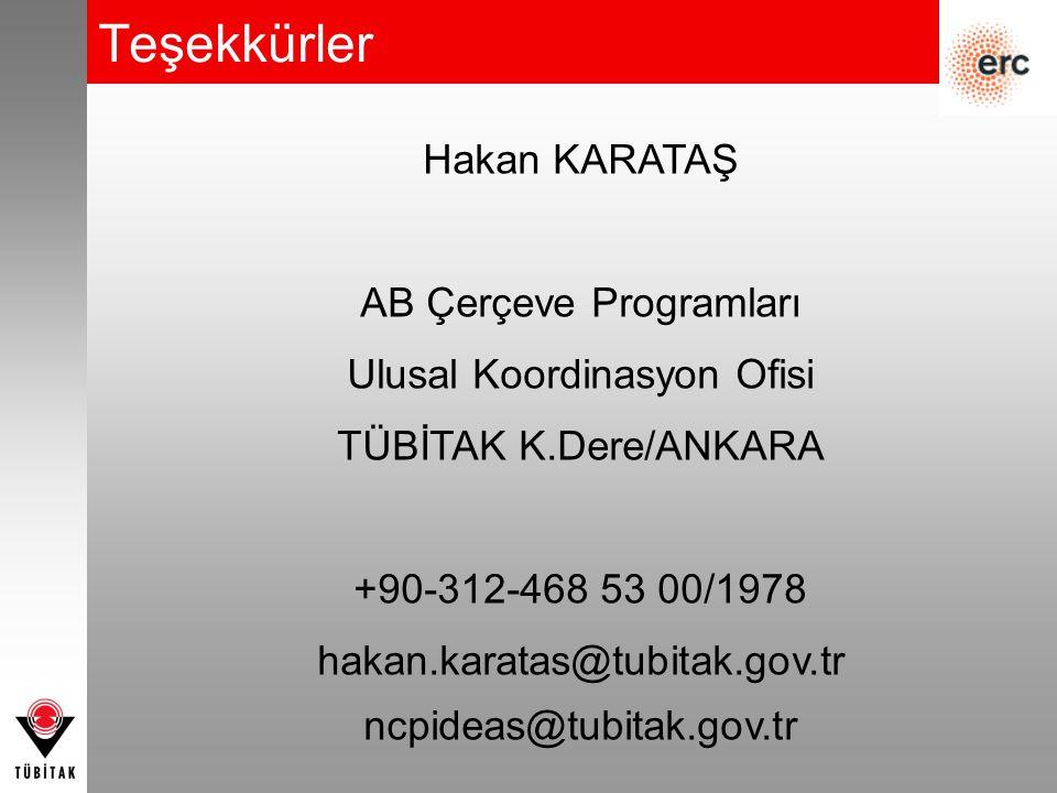 Teşekkürler Hakan KARATAŞ AB Çerçeve Programları Ulusal Koordinasyon Ofisi TÜBİTAK K.Dere/ANKARA +90-312-468 53 00/1978 hakan.karatas@tubitak.gov.tr n