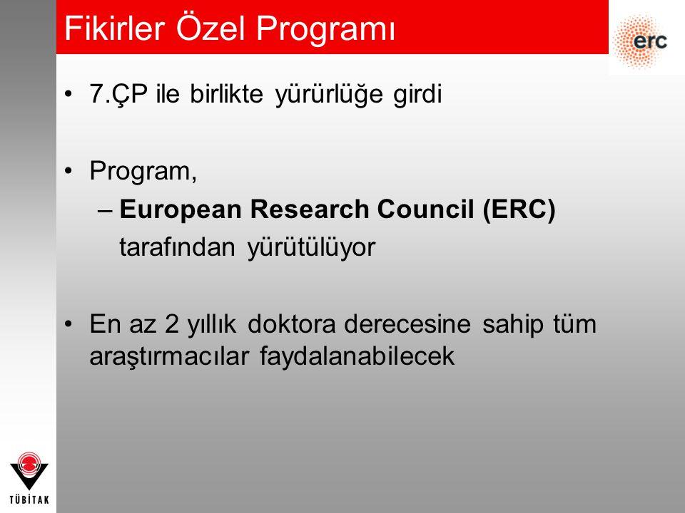 Fikirler Özel Programı 7.ÇP ile birlikte yürürlüğe girdi Program, –European Research Council (ERC) tarafından yürütülüyor En az 2 yıllık doktora derecesine sahip tüm araştırmacılar faydalanabilecek