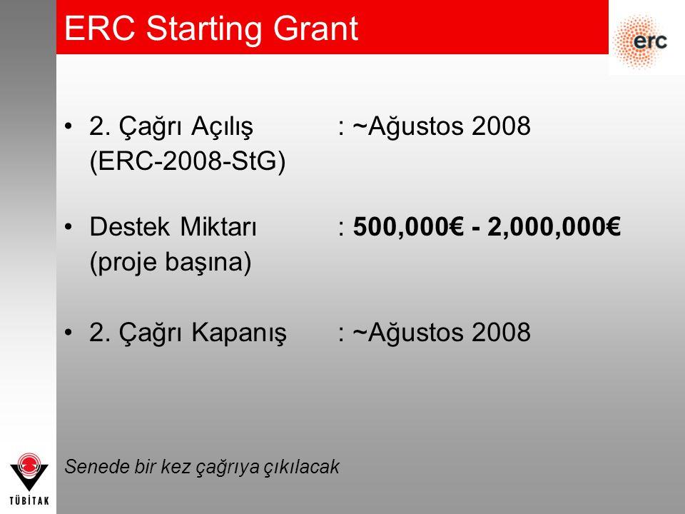 2. Çağrı Açılış: ~Ağustos 2008 (ERC-2008-StG) Destek Miktarı: 500,000€ - 2,000,000€ (proje başına) 2. Çağrı Kapanış : ~Ağustos 2008 Senede bir kez çağ