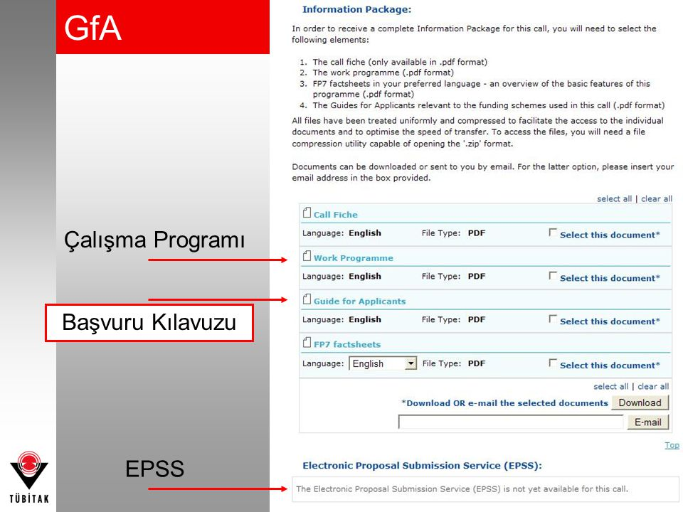 Çalışma Programı Başvuru Kılavuzu GfA EPSS