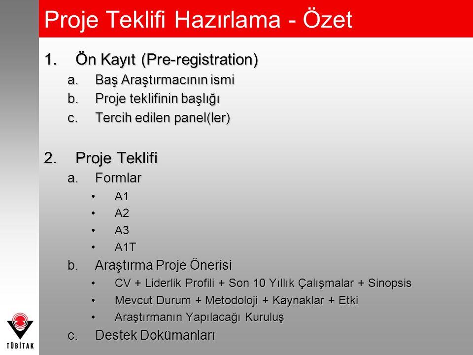 Proje Teklifi Hazırlama - Özet 1.Ön Kayıt (Pre-registration) a.Baş Araştırmacının ismi b.Proje teklifinin başlığı c.Tercih edilen panel(ler) 2.Proje Teklifi a.Formlar A1A1 A2A2 A3A3 A1TA1T b.Araştırma Proje Önerisi CV + Liderlik Profili + Son 10 Yıllık Çalışmalar + SinopsisCV + Liderlik Profili + Son 10 Yıllık Çalışmalar + Sinopsis Mevcut Durum + Metodoloji + Kaynaklar + EtkiMevcut Durum + Metodoloji + Kaynaklar + Etki Araştırmanın Yapılacağı KuruluşAraştırmanın Yapılacağı Kuruluş c.Destek Dokümanları