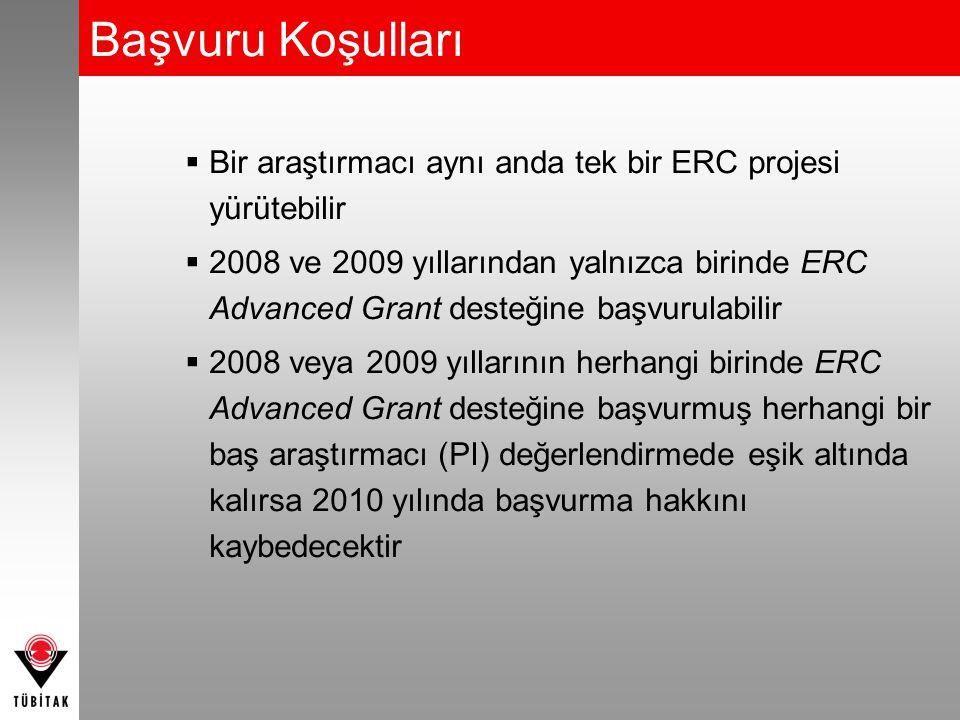 Başvuru Koşulları  Bir araştırmacı aynı anda tek bir ERC projesi yürütebilir  2008 ve 2009 yıllarından yalnızca birinde ERC Advanced Grant desteğine başvurulabilir  2008 veya 2009 yıllarının herhangi birinde ERC Advanced Grant desteğine başvurmuş herhangi bir baş araştırmacı (PI) değerlendirmede eşik altında kalırsa 2010 yılında başvurma hakkını kaybedecektir