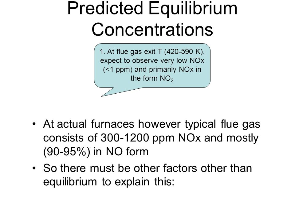 Predicted Equilibrium Concentrations 1. At flue gas exit T (420-590 K), expect to observe very low NOx (<1 ppm) and primarily NOx in the form NO 2 At