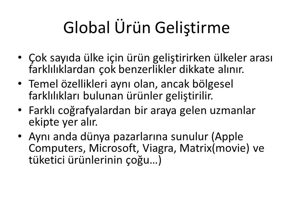 Global Ürün Geliştirme Çok sayıda ülke için ürün geliştirirken ülkeler arası farklılıklardan çok benzerlikler dikkate alınır. Temel özellikleri aynı o