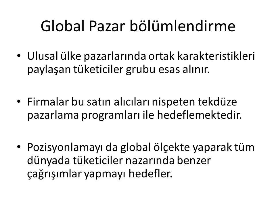 Global Pazar bölümlendirme Ulusal ülke pazarlarında ortak karakteristikleri paylaşan tüketiciler grubu esas alınır. Firmalar bu satın alıcıları nispet