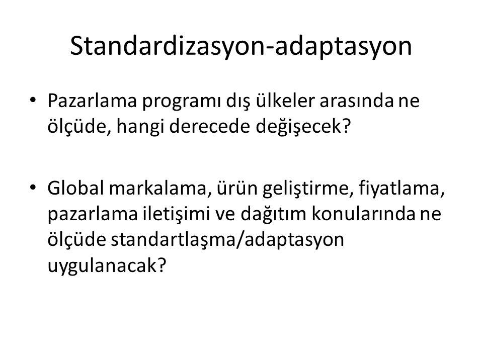 Standardizasyon-adaptasyon Pazarlama programı dış ülkeler arasında ne ölçüde, hangi derecede değişecek? Global markalama, ürün geliştirme, fiyatlama,