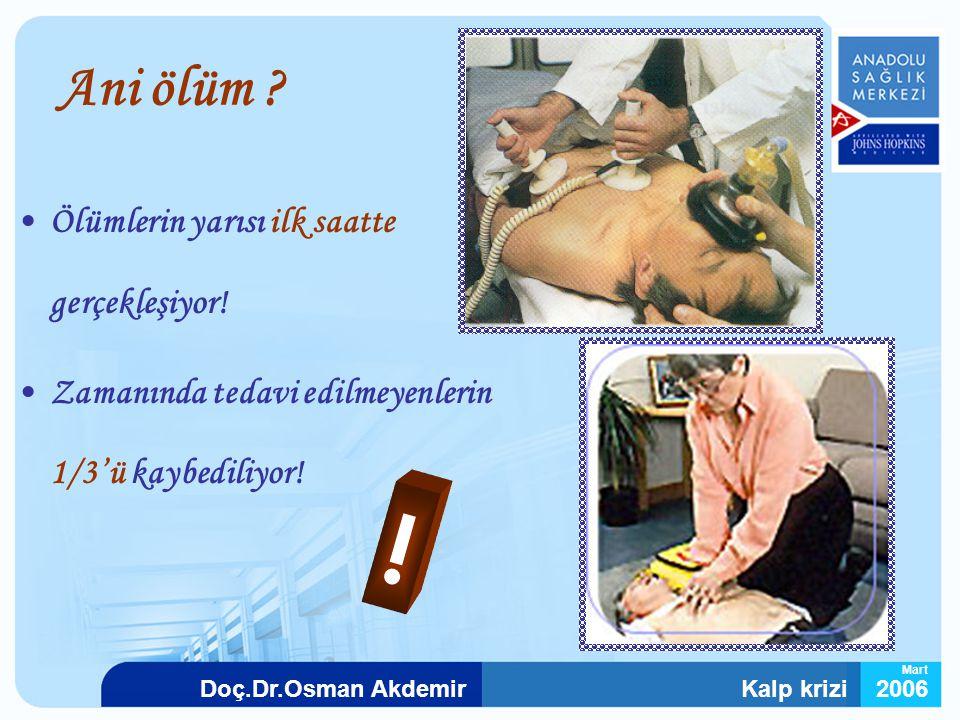 Kalp krizi2006Doç.Dr.Osman Akdemir Mart Ani ölüm ? Ölümlerin yarısı ilk saatte gerçekleşiyor! Zamanında tedavi edilmeyenlerin 1/3'ü kaybediliyor! !