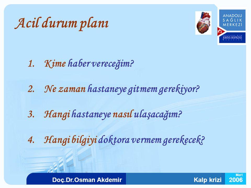 Kalp krizi2006Doç.Dr.Osman Akdemir Mart Acil durum planı 1.Kime haber vereceğim? 2.Ne zaman hastaneye gitmem gerekiyor? 3.Hangi hastaneye nasıl ulaşac