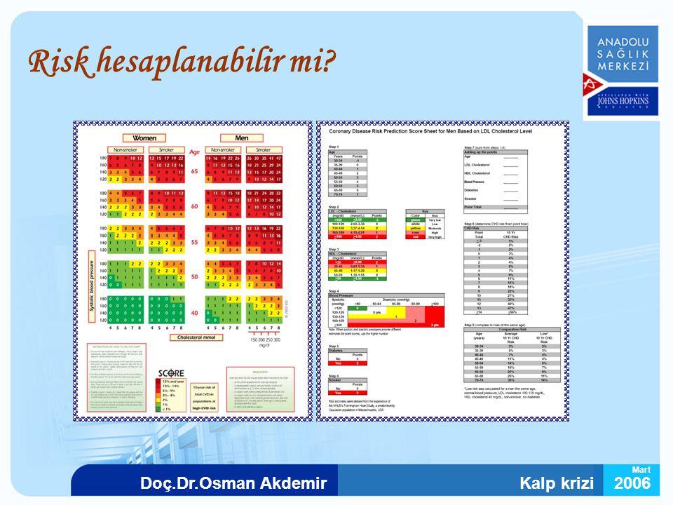 Kalp krizi2006Doç.Dr.Osman Akdemir Mart Risk hesaplanabilir mi?