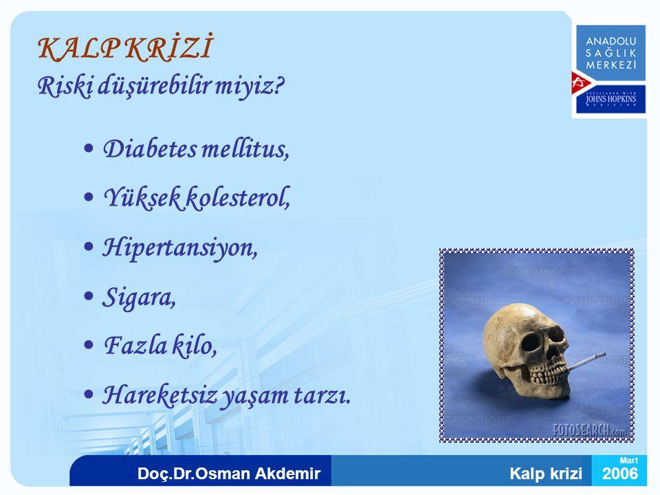 Kalp krizi2006Doç.Dr.Osman Akdemir Mart Diabetes mellitus, Yüksek kolesterol, Hipertansiyon, Sigara, Fazla kilo, Hareketsiz yaşam tarzı. KALP KRİZİ Ri