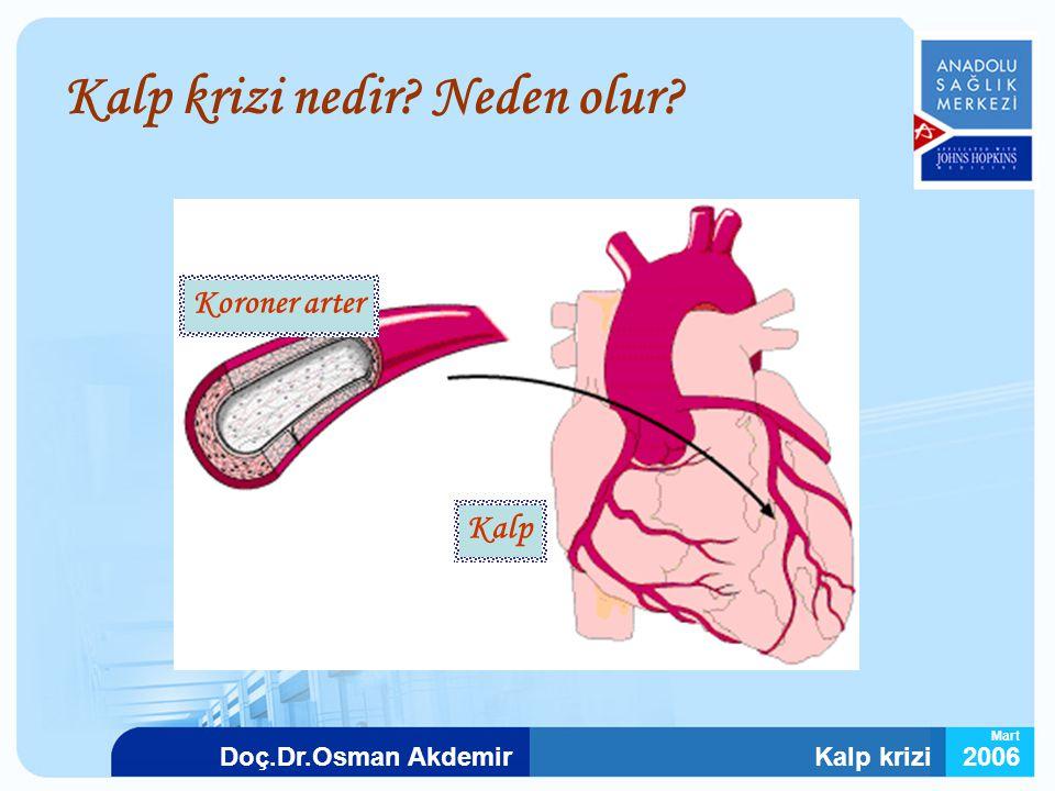 Kalp krizi2006Doç.Dr.Osman Akdemir Mart Kalp krizi nedir? Neden olur? Koroner arter Kalp