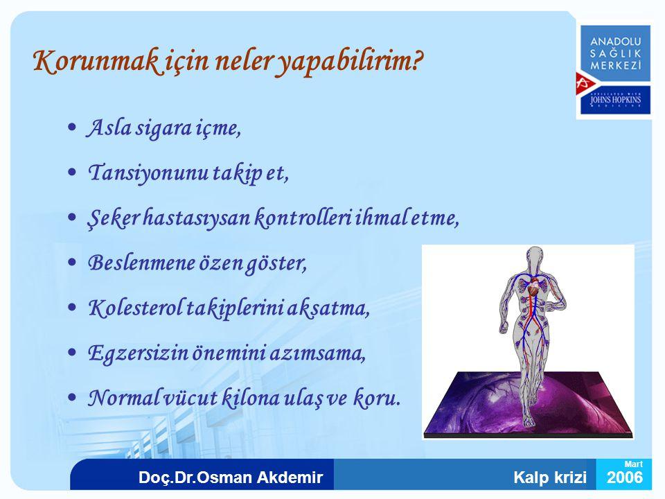Kalp krizi2006Doç.Dr.Osman Akdemir Mart Korunmak için neler yapabilirim? Asla sigara içme, Tansiyonunu takip et, Şeker hastasıysan kontrolleri ihmal e