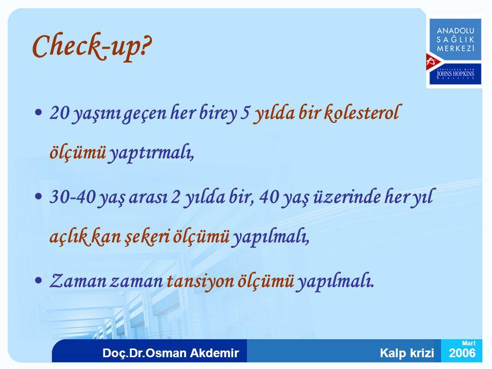 Kalp krizi2006Doç.Dr.Osman Akdemir Mart Check-up? 20 yaşını geçen her birey 5 yılda bir kolesterol ölçümü yaptırmalı, 30-40 yaş arası 2 yılda bir, 40