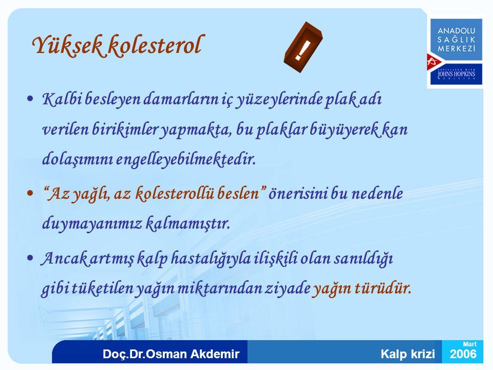 Kalp krizi2006Doç.Dr.Osman Akdemir Mart Yüksek kolesterol Kalbi besleyen damarların iç yüzeylerinde plak adı verilen birikimler yapmakta, bu plaklar b