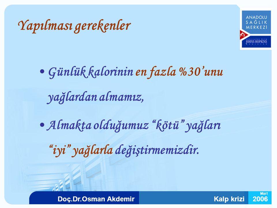 """Kalp krizi2006Doç.Dr.Osman Akdemir Mart Yapılması gerekenler Günlük kalorinin en fazla %30'unu yağlardan almamız, Almakta olduğumuz """"kötü"""" yağları """"iy"""