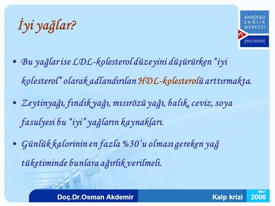 """Kalp krizi2006Doç.Dr.Osman Akdemir Mart İyi yağlar? Bu yağlar ise LDL-kolesterol düzeyini düşürürken """"iyi kolesterol"""" olarak adlandırılan HDL-kolester"""
