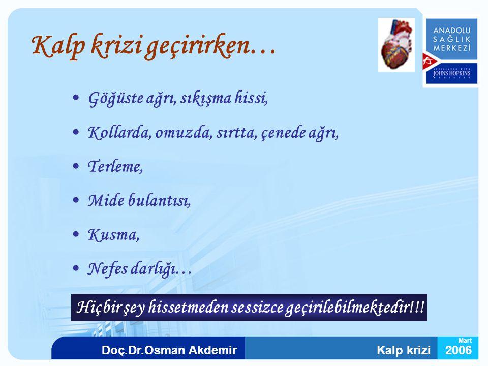 Kalp krizi2006Doç.Dr.Osman Akdemir Mart Kalp krizi geçirirken… Göğüste ağrı, sıkışma hissi, Kollarda, omuzda, sırtta, çenede ağrı, Terleme, Mide bulan
