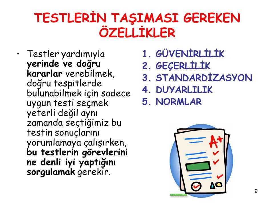 30 TESTLERİN TAŞIMASI GEREKEN ÖZELLİKLER 4.