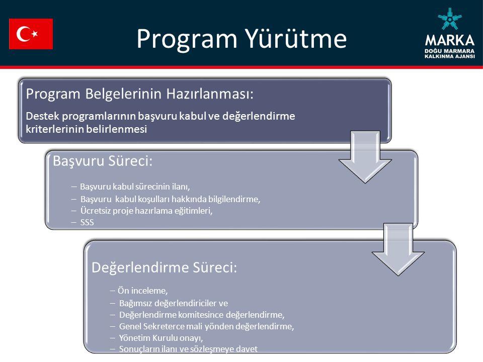 Program Yürütme Program Belgelerinin Hazırlanması: Destek programlarının başvuru kabul ve değerlendirme kriterlerinin belirlenmesi Başvuru Süreci: – B
