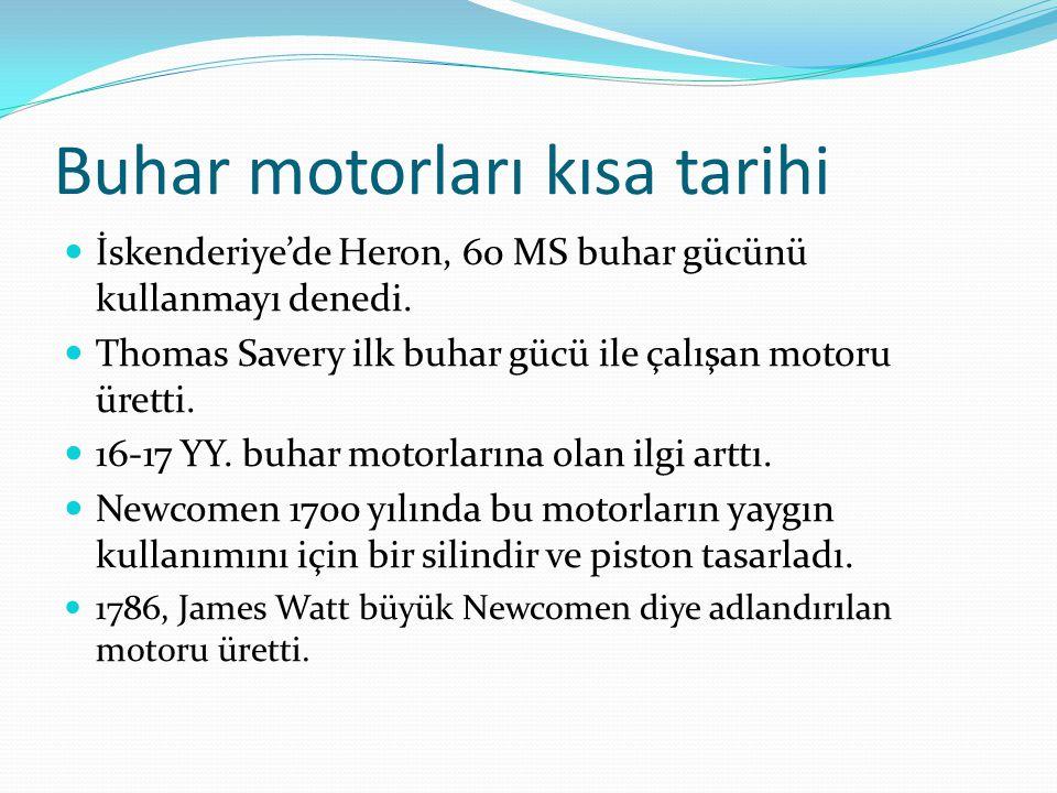 Buhar motorları kısa tarihi İskenderiye'de Heron, 60 MS buhar gücünü kullanmayı denedi. Thomas Savery ilk buhar gücü ile çalışan motoru üretti. 16-17