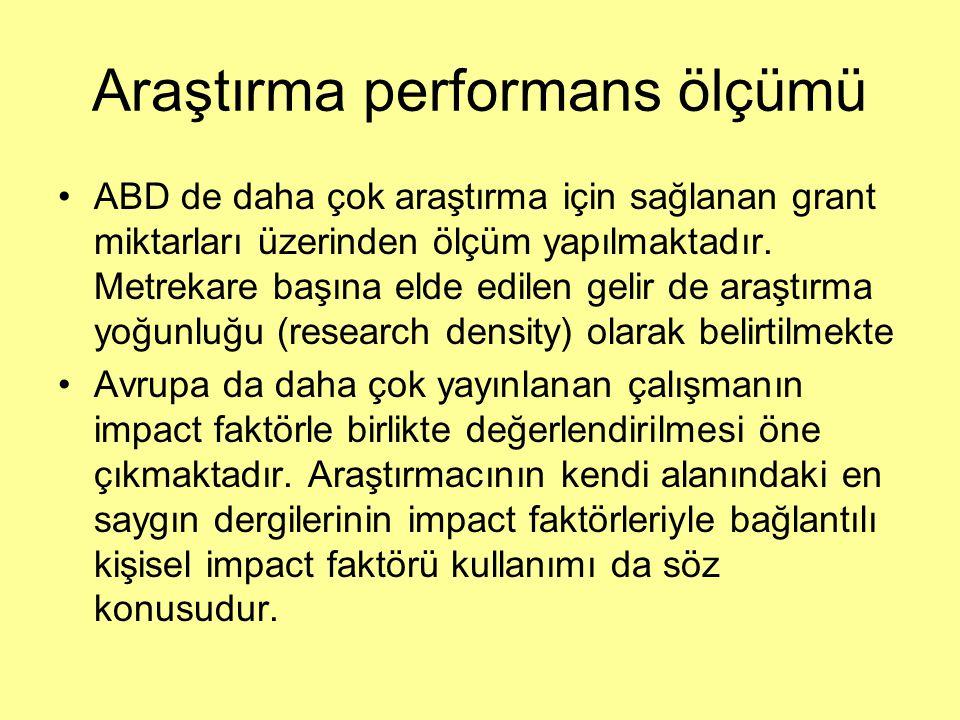 Araştırma performans ölçümü ABD de daha çok araştırma için sağlanan grant miktarları üzerinden ölçüm yapılmaktadır. Metrekare başına elde edilen gelir