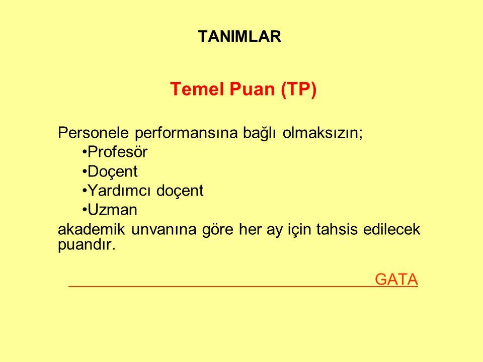 TANIMLAR Temel Puan (TP) Personele performansına bağlı olmaksızın; Profesör Doçent Yardımcı doçent Uzman akademik unvanına göre her ay için tahsis edilecek puandır.