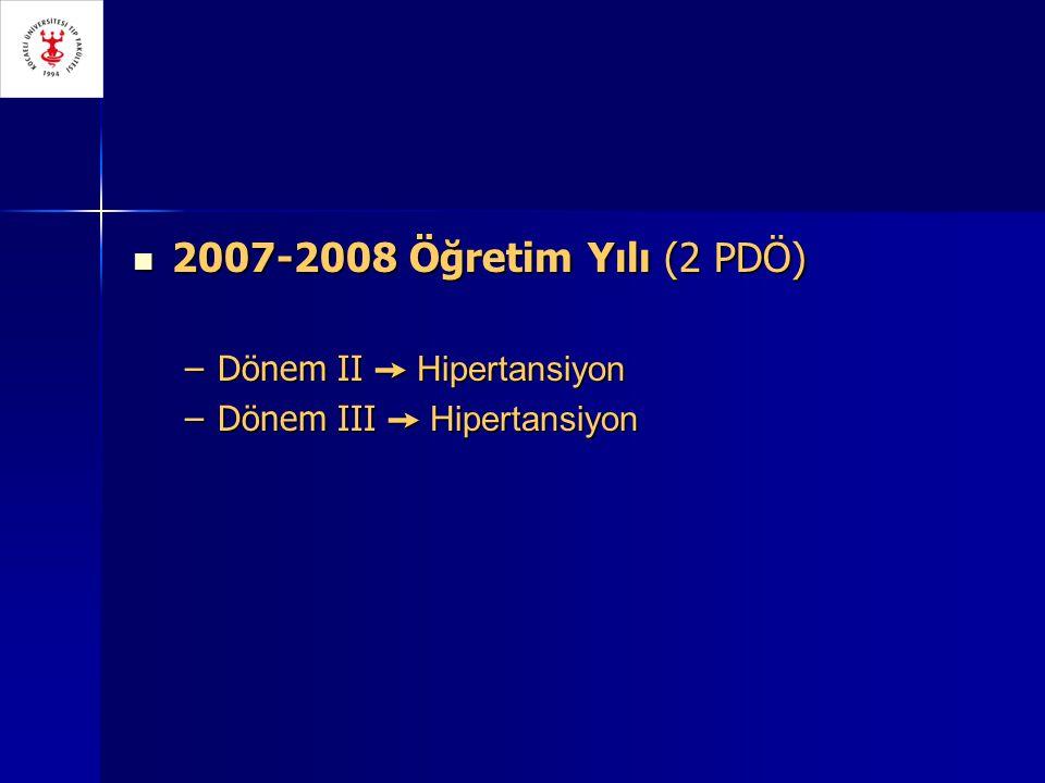 2007-2008 Öğretim Yılı (2 PDÖ) 2007-2008 Öğretim Yılı (2 PDÖ) –Dönem II ➙ Hipertansiyon –Dönem III ➙ Hipertansiyon