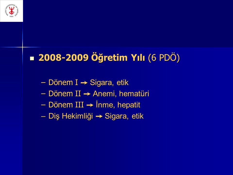 2008-2009 Öğretim Yılı (6 PDÖ) 2008-2009 Öğretim Yılı (6 PDÖ) –Dönem I ➙ Sigara, etik –Dönem II ➙ Anemi, hematüri –Dönem III ➙ İnme, hepatit –Diş Hekimliği ➙ Sigara, etik